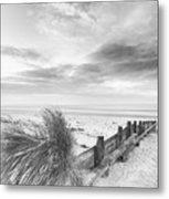 Beautiful Beach Coastal Low Tide Landscape Image At Sunrise In B Metal Print