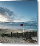 Beautiful Beach Coastal Low Tide Landscape Image At Sunrise With Metal Print