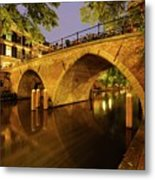 Beautiful Bridge Weesbrug Over The Old Canal In Utrecht At Dusk 220 Metal Print