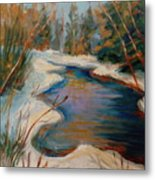 Beautiful Brook In Winter Metal Print