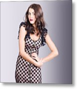 Beautiful Brunette Girl Wearing Retro Zipper Dress Metal Print