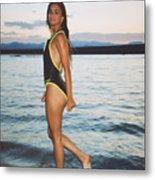 Beautiful Brunette On The Beach Metal Print
