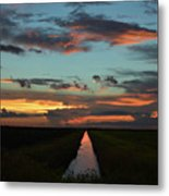 Beautiful Canal Sunset In Florida Metal Print