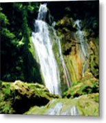 Beautiful Cascades Of Mele Falls Surrounded By Lush Foliage Metal Print