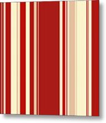 Modern Christmas Stripe Pattern Series Red Currant, Cream, Blush Metal Print