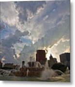Beautiful Clouds Over Buckingham Fountain Metal Print