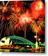 Beautiful Colorful Holiday Fireworks 2 Metal Print