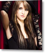 Beautiful Costumed Young Showgirl Metal Print