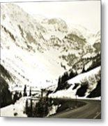 Beautiful Curving Drive Through The Mountains Metal Print