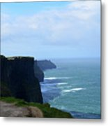 Beautiful Day At The Cliff's Of Moher In Ireland Metal Print