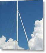 Beautiful Day At The Marina - Mast And Clouds - Color Metal Print