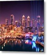 Beautiful Famous Downtown Area In Dubai At Night, Dubai, United Arab Emirates Metal Print