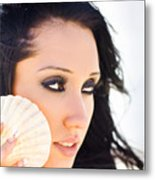 Beautiful Girl Holding A Cockle Shell Metal Print