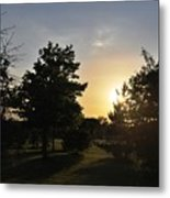 Beautiful Greenery Park In The Afternoon  Metal Print
