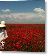 Beautiful Lady And Red Poppies Metal Print