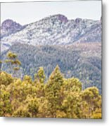 Beautiful Landscape With Partly Snowed Mountain  Metal Print