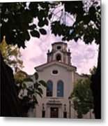 Beautiful Mason Hall - Pomona College - Trees Framing Metal Print
