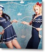 Beautiful Navy Pinup Girls On Marine Background Metal Print