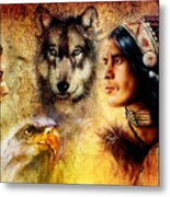 Beautiful Painting Of An Young Indian Man And Woman  Accompanied Metal Print