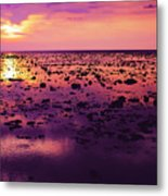 Beautiful Purple Sunset During Tide Shows Up Rocky Beach Metal Print
