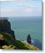 Beautiful Rocky Towering Sea Cliffs Along The Cliff's Of Moher Metal Print