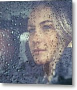 Beautiful Sad Woman In The Car Metal Print