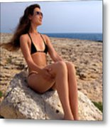 Beautiful Sexy Woman In Bikini Relaxing On A Rocky Seashore Metal Print