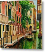 Beautiful Side Canal In Venice Metal Print by Charlotte Blanchard