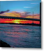 Beautiful Sunset Under The Bridge Metal Print