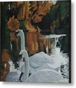 Beautiful Swans Moving In The River Path Metal Print