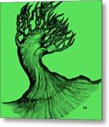 Beautiful Tree In Color Nature Original Black And White Pen Art By Rune Larsen Metal Print