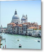 Beautiful View Of Water Street And Old Buildings In Venice, Ital Metal Print
