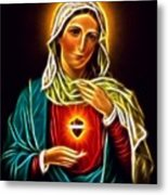 Beautiful Virgin Mary Sacred Heart Metal Print