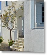 Beautiful White Mediterranean Architecture With Blue Frames. Metal Print