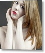 Beautiful White Woman On Red Chair Metal Print