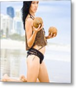 Beautiful Woman In Beach Heaven Metal Print