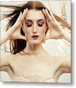 Beautiful Woman With Windswept Hair Metal Print