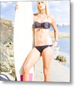 Beautiful Young Blond Surf Woman Metal Print