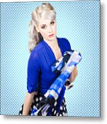 Beautiful Young Woman Holding Sunglasses And Scarf Metal Print