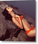 Beautiful Young Woman In Orange Bikini Metal Print
