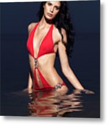 Beautiful Young Woman In Red Swimsuit Standing In Water Metal Print