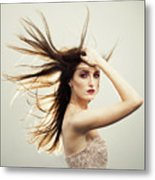 Beautiful Young Woman With Windswept Hair Metal Print
