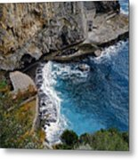 Beautifully Carved Out Swimming Deck On The Edge Of The Sea On The Amalfi Coast In Italy  Metal Print