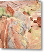 Beautifully Colored Boulders In Wash 3 - Valley Of Fire Metal Print
