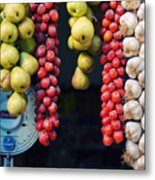 Beauty In Tomatoes Garlic And Pears Metal Print