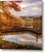 Beauty Of The Lake In Autumn Deep Tones Metal Print
