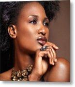 Beauty Portrait Of Black Woman Wearing Jewelry Metal Print