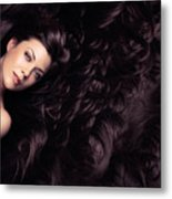 Beauty Portrait Of Woman Surrounded By Long Brown Hair  Metal Print