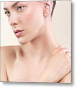 Beauty Portrait Of Young Woman With Clean Natural Look Metal Print