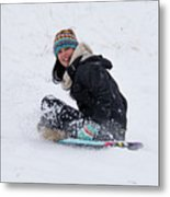Beauty Sliding Backwards With A Smile Metal Print